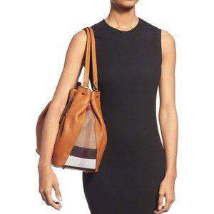 BURBERRY Orange/Check Leather Shoulder Bag